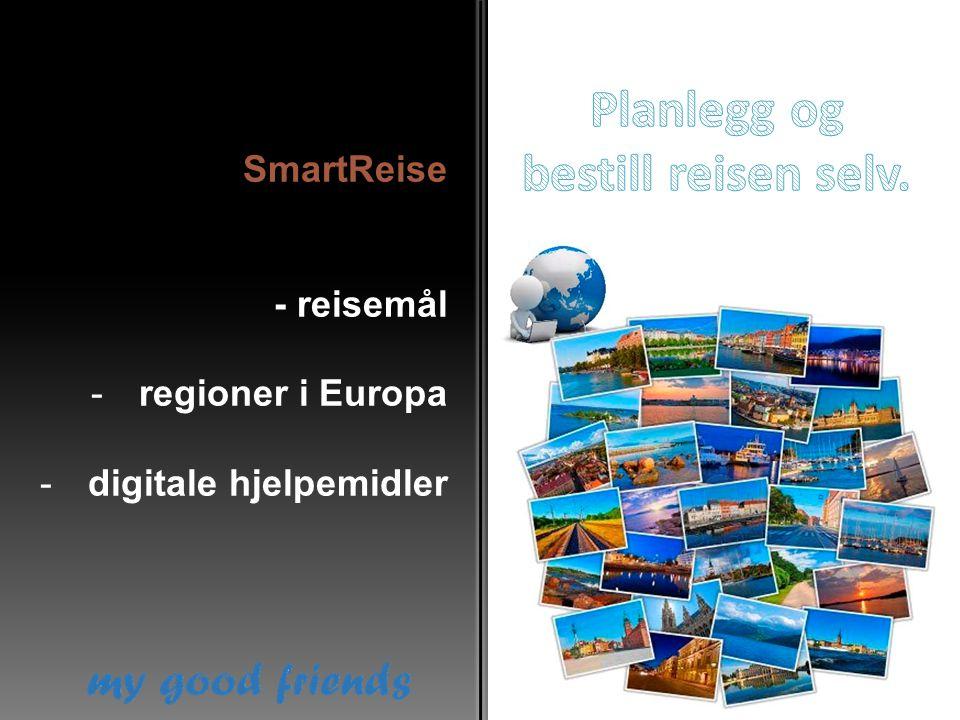 SmartReise - reisemål -regioner i Europa -digitale hjelpemidler
