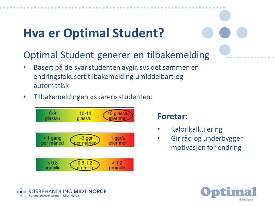 Hva er Optimal Student? Optimal Student generer en tilbakemelding • Basert på de svar studenten avgir, sys det sammen en endringsfokusert tilbakemeldi