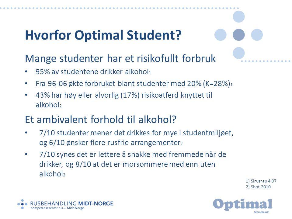 Hvorfor Optimal Student? Mange studenter har et risikofullt forbruk • 95% av studentene drikker alkohol 1 • Fra 96-06 økte forbruket blant studenter m