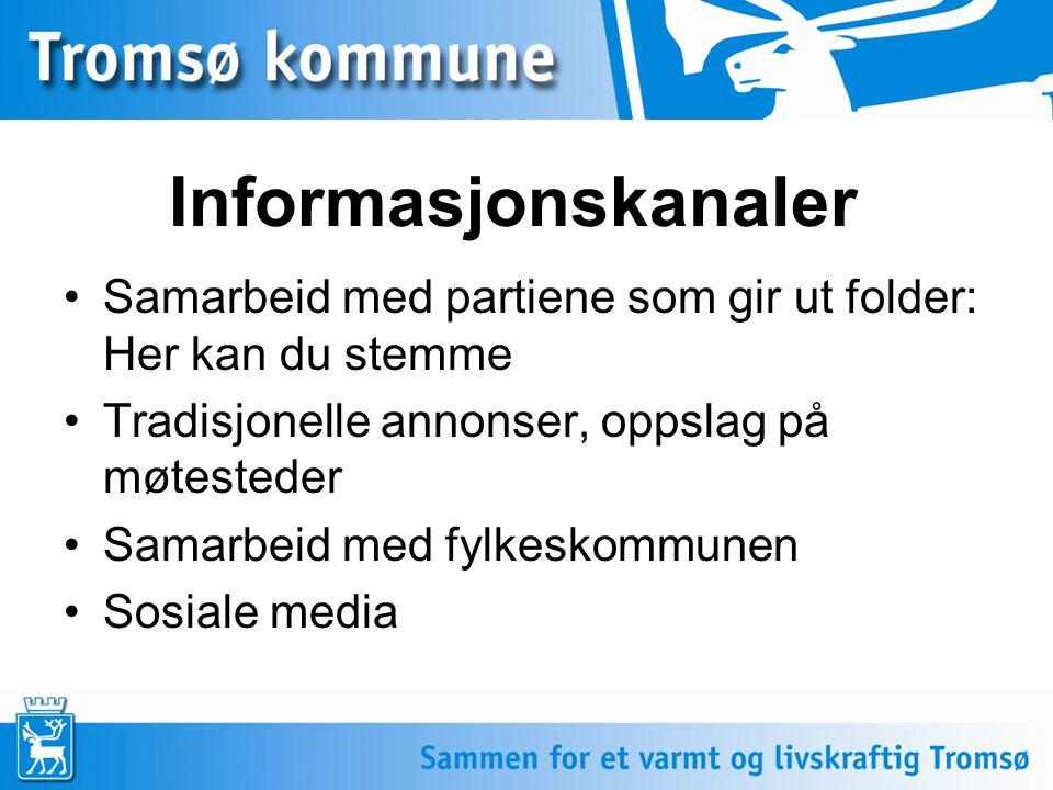 Informasjonskanaler •Samarbeid med partiene som gir ut folder: Her kan du stemme •Tradisjonelle annonser, oppslag på møtesteder •Samarbeid med fylkesk