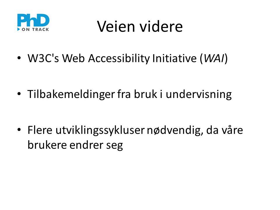 Veien videre • W3C s Web Accessibility Initiative (WAI) • Tilbakemeldinger fra bruk i undervisning • Flere utviklingssykluser nødvendig, da våre brukere endrer seg