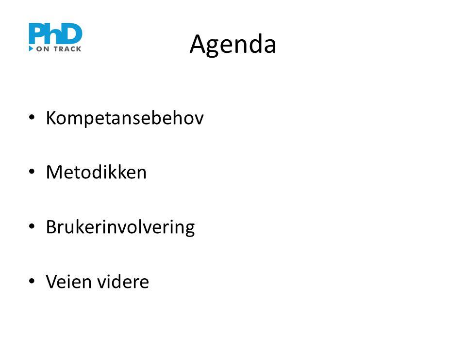 Agenda • Kompetansebehov • Metodikken • Brukerinvolvering • Veien videre