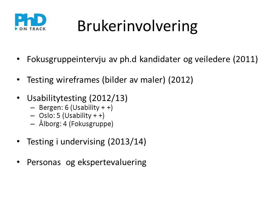 Brukerinvolvering • Fokusgruppeintervju av ph.d kandidater og veiledere (2011) • Testing wireframes (bilder av maler) (2012) • Usabilitytesting (2012/13) – Bergen: 6 (Usability + +) – Oslo: 5 (Usability + +) – Ålborg: 4 (Fokusgruppe) • Testing i undervising (2013/14) • Personas og ekspertevaluering