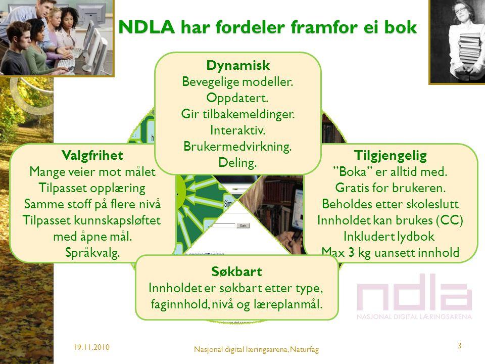 NDLA har fordeler framfor ei bok NDLA har fordeler framfor ei bok 19.11.2010 3 Valgfrihet Mange veier mot målet Tilpasset opplæring Samme stoff på fle