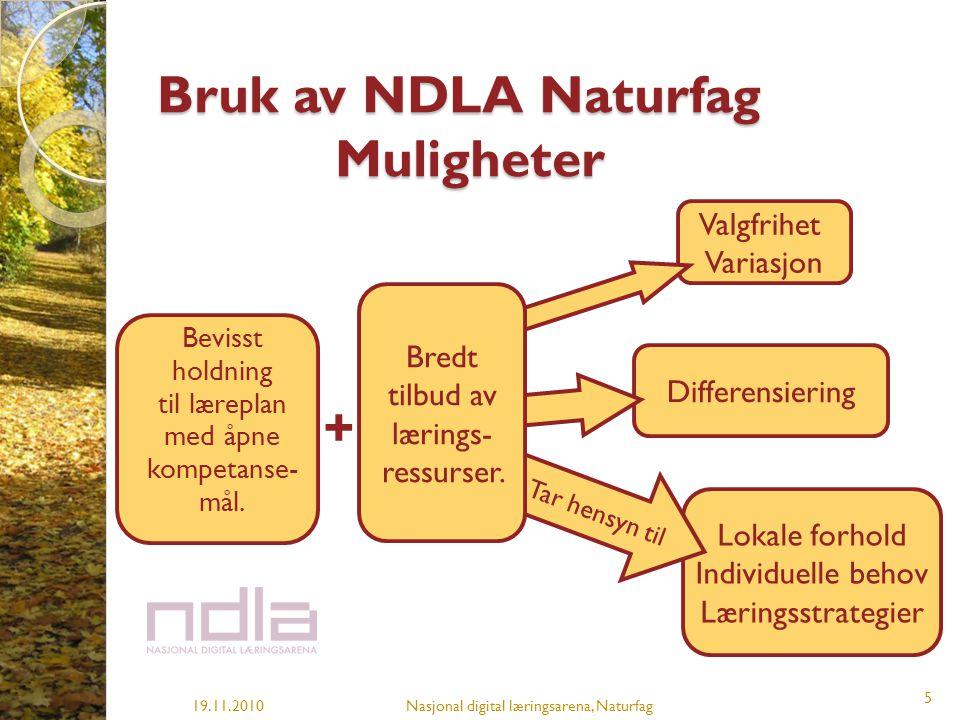 Bruk av NDLA Naturfag Muligheter 19.11.2010Nasjonal digital læringsarena, Naturfag 5 Bevisst holdning til læreplan med åpne kompetanse- mål. Valgfrihe