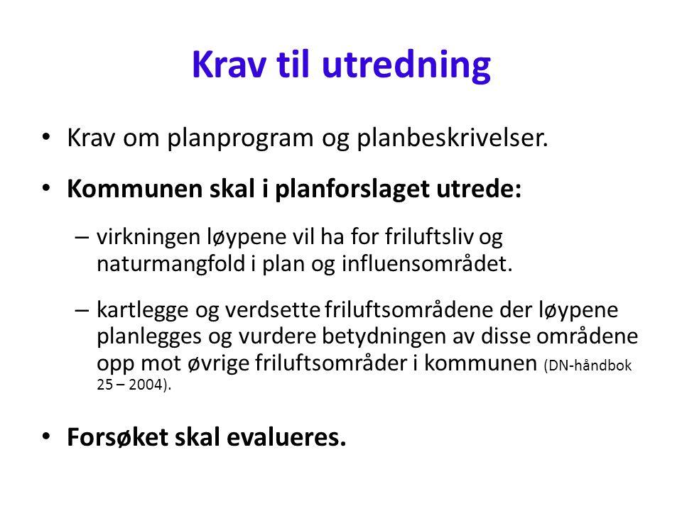 Krav til utredning • Krav om planprogram og planbeskrivelser.