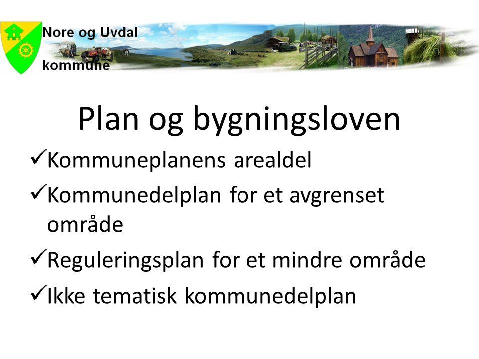 Plan og bygningsloven  Kommuneplanens arealdel  Kommunedelplan for et avgrenset område  Reguleringsplan for et mindre område  Ikke tematisk kommunedelplan
