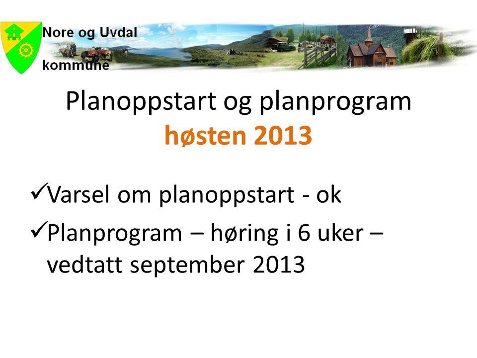 Planoppstart og planprogram høsten 2013  Varsel om planoppstart - ok  Planprogram – høring i 6 uker – vedtatt september 2013
