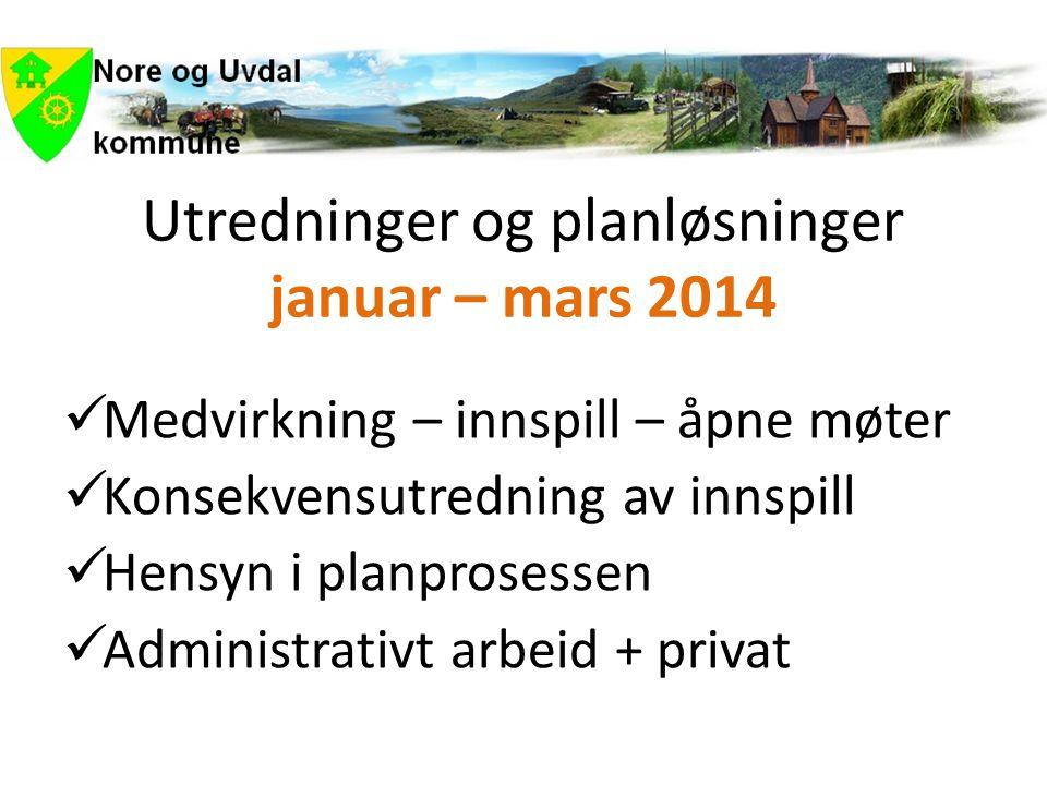Utredninger og planløsninger januar – mars 2014  Medvirkning – innspill – åpne møter  Konsekvensutredning av innspill  Hensyn i planprosessen  Administrativt arbeid + privat