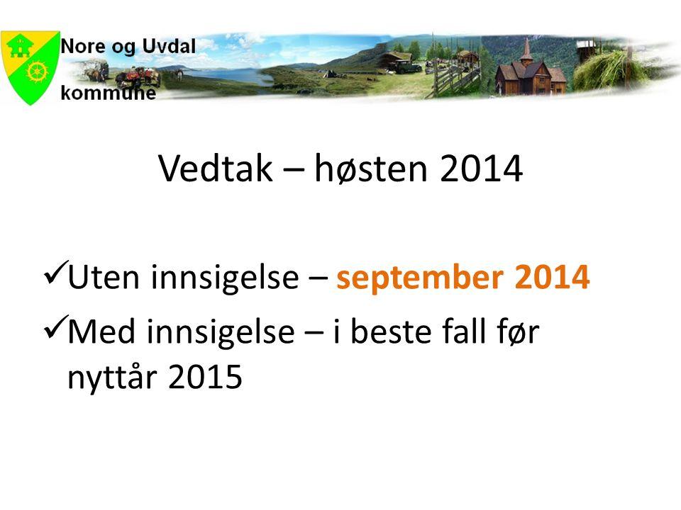 Vedtak – høsten 2014  Uten innsigelse – september 2014  Med innsigelse – i beste fall før nyttår 2015
