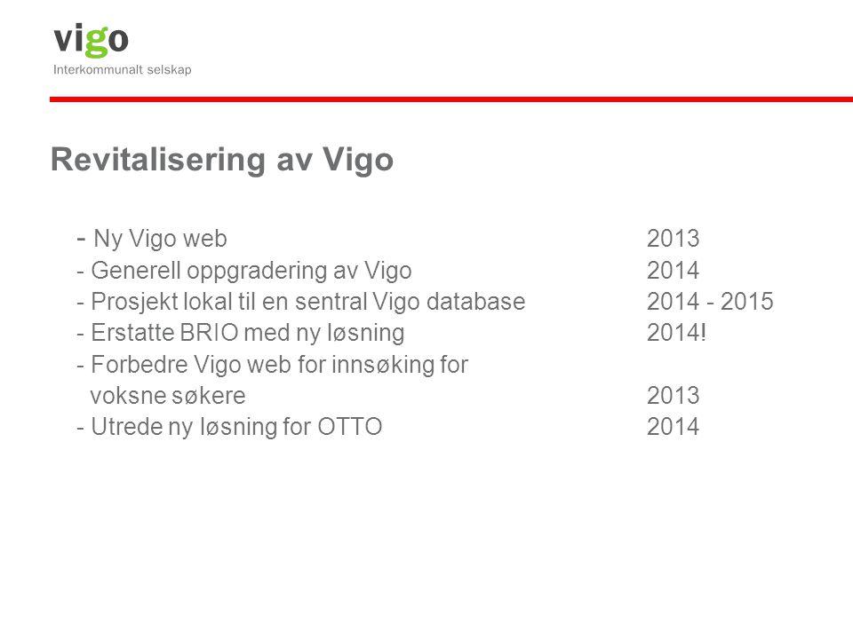 Revitalisering av Vigo - Ny Vigo web2013 - Generell oppgradering av Vigo2014 - Prosjekt lokal til en sentral Vigo database2014 - 2015 - Erstatte BRIO med ny løsning2014.
