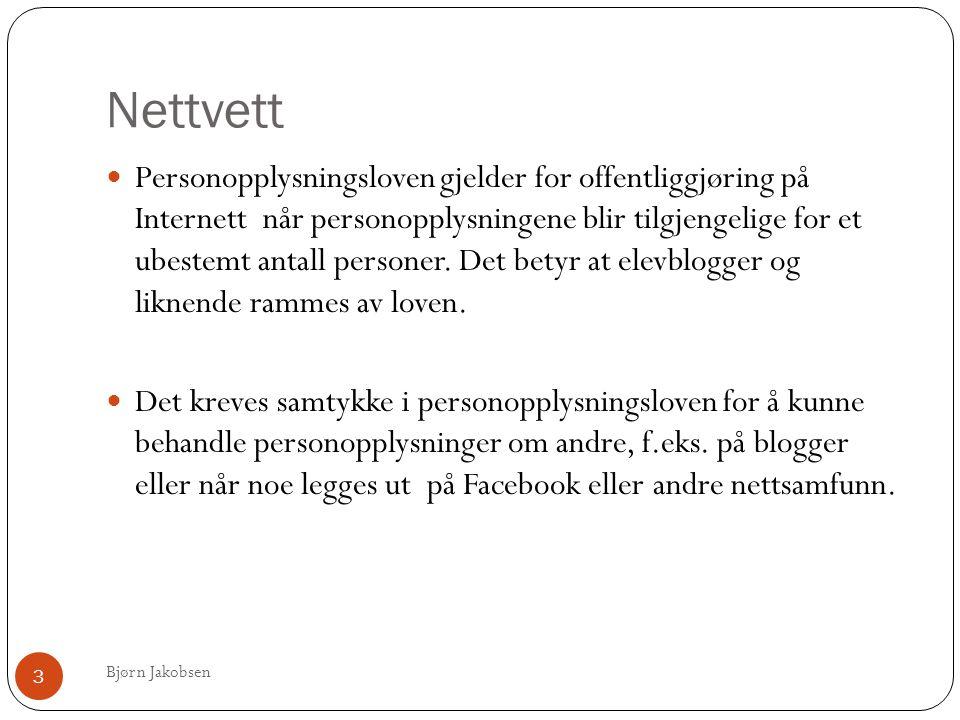 Nettvett Bjørn Jakobsen 3  Personopplysningsloven gjelder for offentliggjøring på Internett når personopplysningene blir tilgjengelige for et ubestemt antall personer.