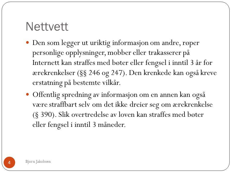 Nettvett Bjørn Jakobsen 4  Den som legger ut uriktig informasjon om andre, røper personlige opplysninger, mobber eller trakasserer på Internett kan straffes med bøter eller fengsel i inntil 3 år for ærekrenkelser (§§ 246 og 247).