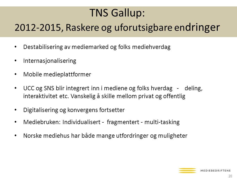 TNS Gallup: 2012-2015, Raskere og uforutsigbare en dringer • Destabilisering av mediemarked og folks mediehverdag • Internasjonalisering • Mobile medieplattformer • UCC og SNS blir integrert inn i mediene og folks hverdag - deling, interaktivitet etc.