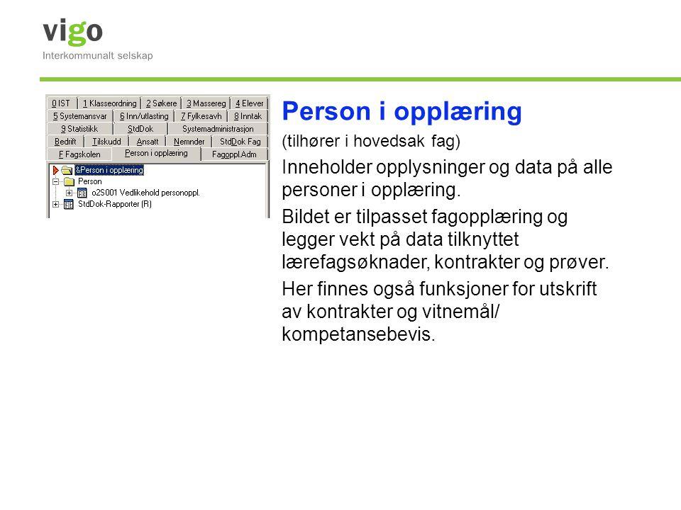 Person i opplæring (tilhører i hovedsak fag) Inneholder opplysninger og data på alle personer i opplæring. Bildet er tilpasset fagopplæring og legger