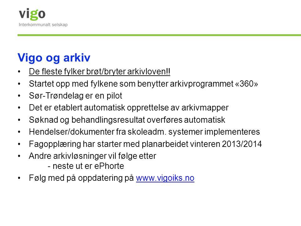 Vigo og arkiv •De fleste fylker brøt/bryter arkivloven!! •Startet opp med fylkene som benytter arkivprogrammet «360» •Sør-Trøndelag er en pilot •Det e