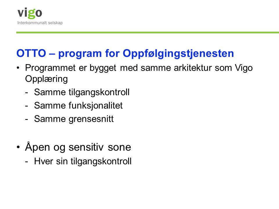 OTTO – program for Oppfølgingstjenesten •Programmet er bygget med samme arkitektur som Vigo Opplæring -Samme tilgangskontroll -Samme funksjonalitet -S