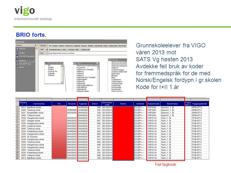Grunnskoleelever fra VIGO våren 2013 mot SATS Vg høsten 2013 Avdekke feil bruk av koder for fremmedspråk for de med Norsk/Engelsk fordypn i gr.skolen