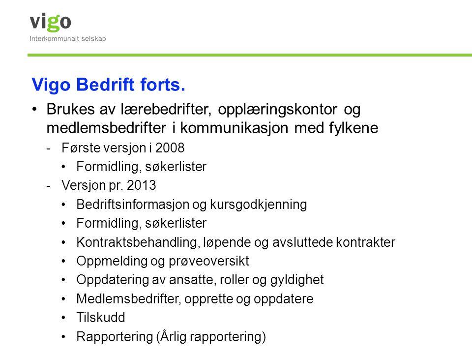 Vigo Bedrift forts. •Brukes av lærebedrifter, opplæringskontor og medlemsbedrifter i kommunikasjon med fylkene -Første versjon i 2008 •Formidling, søk
