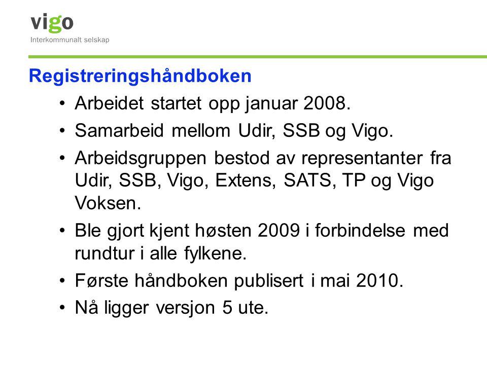 Registreringshåndboken •Arbeidet startet opp januar 2008. •Samarbeid mellom Udir, SSB og Vigo. •Arbeidsgruppen bestod av representanter fra Udir, SSB,