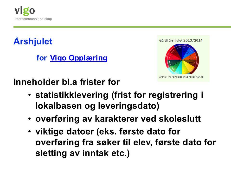 Årshjulet for Vigo Opplæring Vigo Opplæring Inneholder bl.a frister for •statistikklevering (frist for registrering i lokalbasen og leveringsdato) •ov