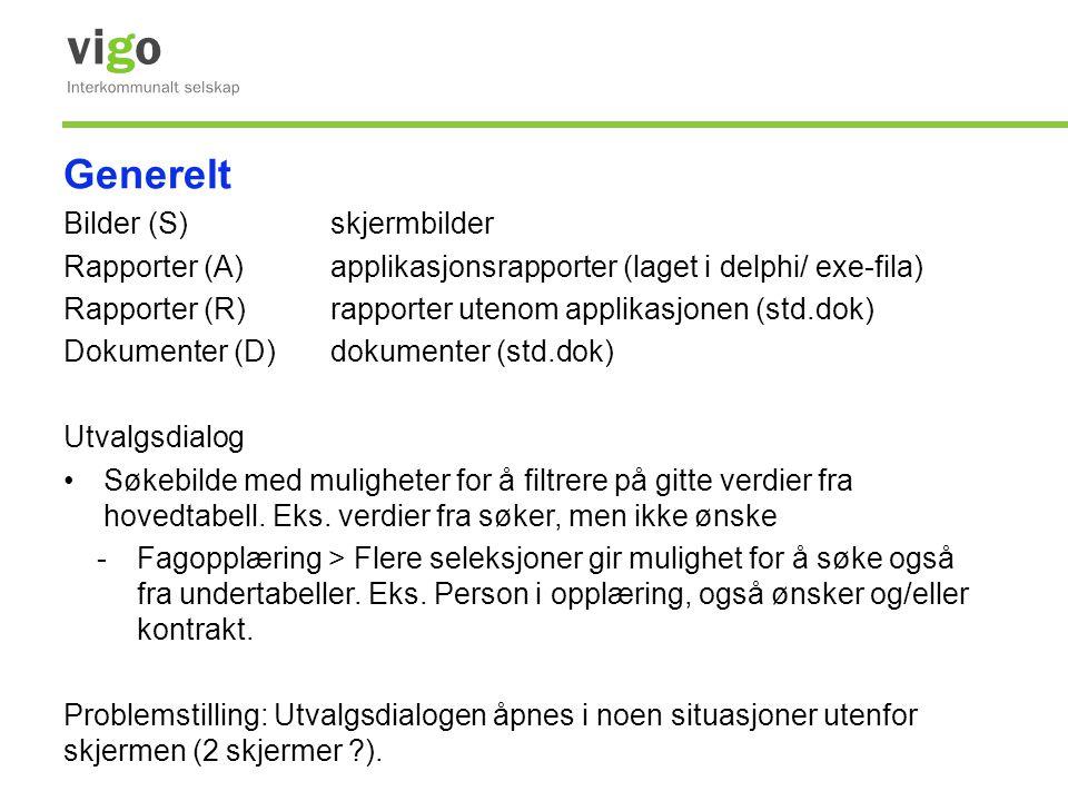 Generelt Bilder (S)skjermbilder Rapporter (A)applikasjonsrapporter (laget i delphi/ exe-fila) Rapporter (R)rapporter utenom applikasjonen (std.dok) Do