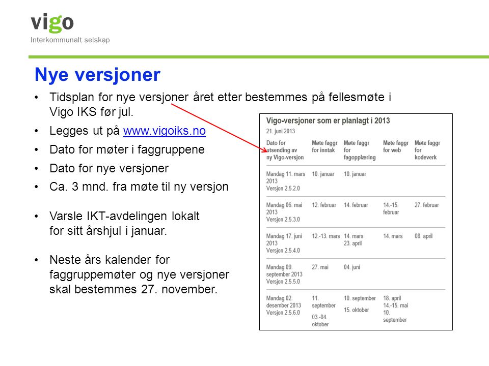 Nye versjoner •Tidsplan for nye versjoner året etter bestemmes på fellesmøte i Vigo IKS før jul. •Legges ut på www.vigoiks.nowww.vigoiks.no •Dato for