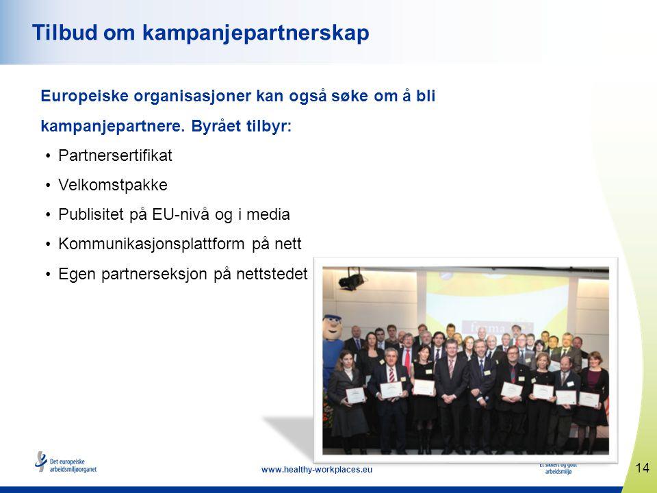 14 www.healthy-workplaces.eu Tilbud om kampanjepartnerskap Europeiske organisasjoner kan også søke om å bli kampanjepartnere.
