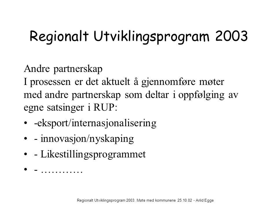 Regionalt Utviklingsprogram 2003. Møte med kommunene 25.10.02 - Arild Egge Regionalt Utviklingsprogram 2003 Andre partnerskap I prosessen er det aktue
