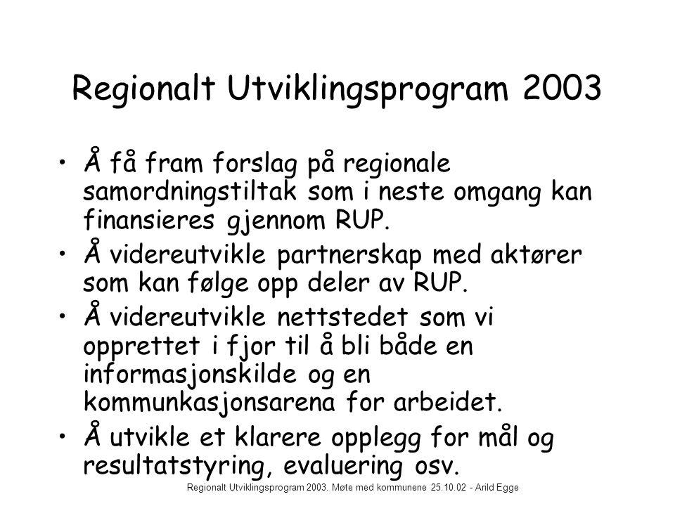 Regionalt Utviklingsprogram 2003. Møte med kommunene 25.10.02 - Arild Egge Regionalt Utviklingsprogram 2003 •Å få fram forslag på regionale samordning