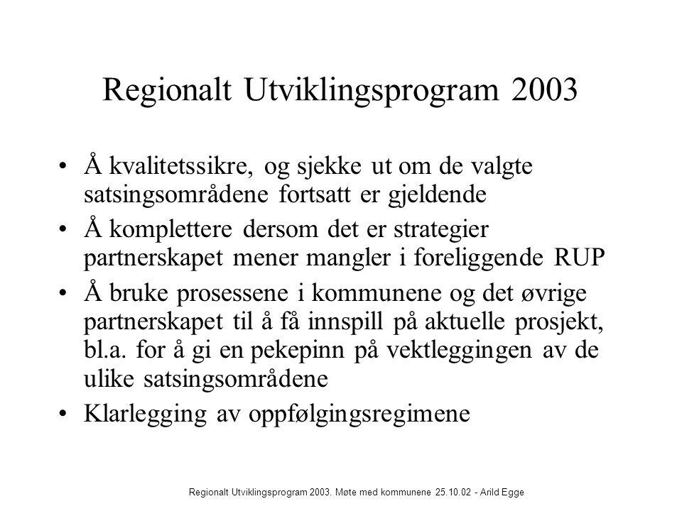 Regionalt Utviklingsprogram 2003. Møte med kommunene 25.10.02 - Arild Egge Regionalt Utviklingsprogram 2003 •Å kvalitetssikre, og sjekke ut om de valg