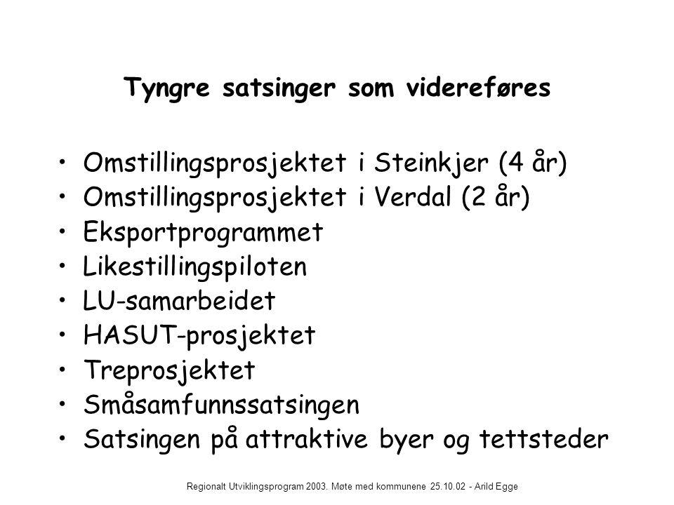 Regionalt Utviklingsprogram 2003. Møte med kommunene 25.10.02 - Arild Egge Tyngre satsinger som videreføres •Omstillingsprosjektet i Steinkjer (4 år)