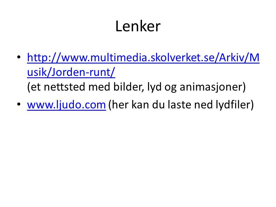 Lenker • http://www.multimedia.skolverket.se/Arkiv/M usik/Jorden-runt/ (et nettsted med bilder, lyd og animasjoner) http://www.multimedia.skolverket.s