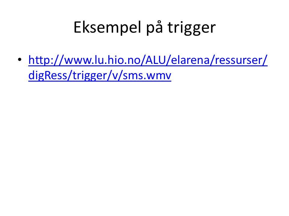 Eksempel på trigger • http://www.lu.hio.no/ALU/elarena/ressurser/ digRess/trigger/v/sms.wmv http://www.lu.hio.no/ALU/elarena/ressurser/ digRess/trigge