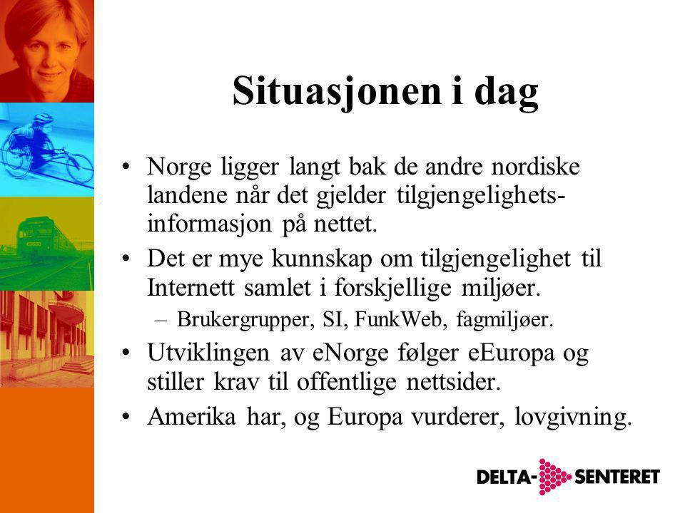 Situasjonen i dag •Norge ligger langt bak de andre nordiske landene når det gjelder tilgjengelighets- informasjon på nettet.
