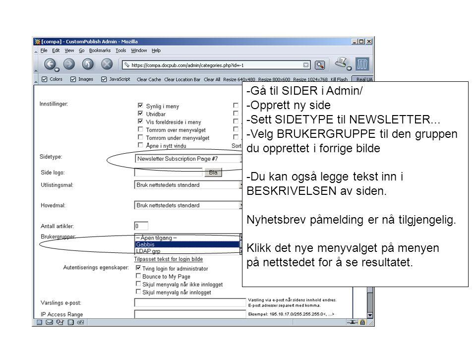 -Gå til SIDER i Admin/ -Opprett ny side -Sett SIDETYPE til NEWSLETTER...