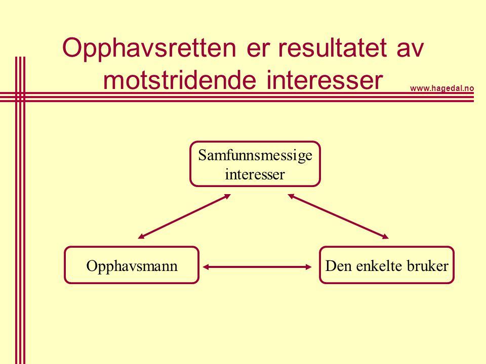 www.hagedal.no Opphavsretten er resultatet av motstridende interesser OpphavsmannDen enkelte bruker Samfunnsmessige interesser