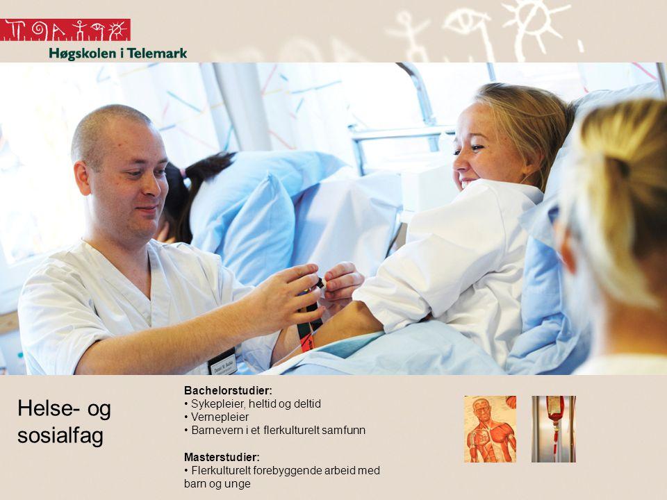 Helse- og sosialfag Bachelorstudier: • Sykepleier, heltid og deltid • Vernepleier • Barnevern i et flerkulturelt samfunn Masterstudier: • Flerkulturelt forebyggende arbeid med barn og unge