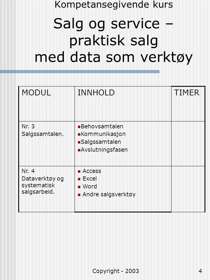 Copyright - 20034 MODULINNHOLDTIMER Nr. 3 Salgssamtalen.  Behovsamtalen  Kommunikasjon  Salgssamtalen  Avslutningsfasen Nr. 4 Dataverktøy og syste