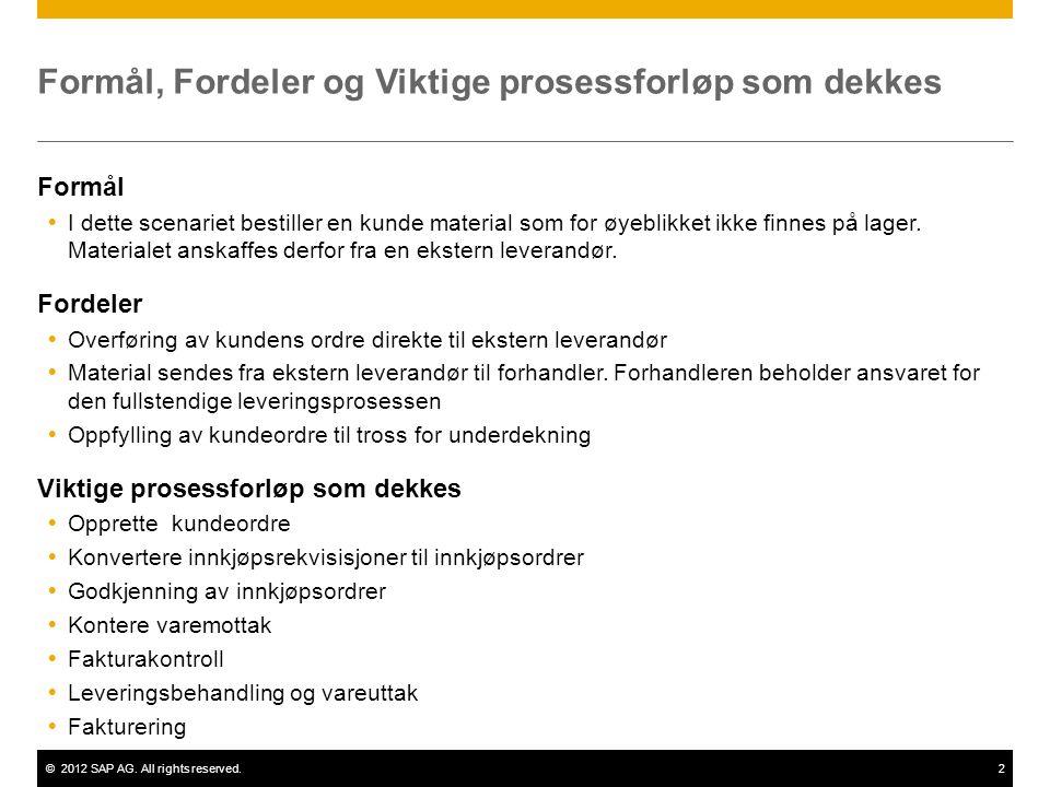 ©2012 SAP AG. All rights reserved.2 Formål, Fordeler og Viktige prosessforløp som dekkes Formål  I dette scenariet bestiller en kunde material som fo