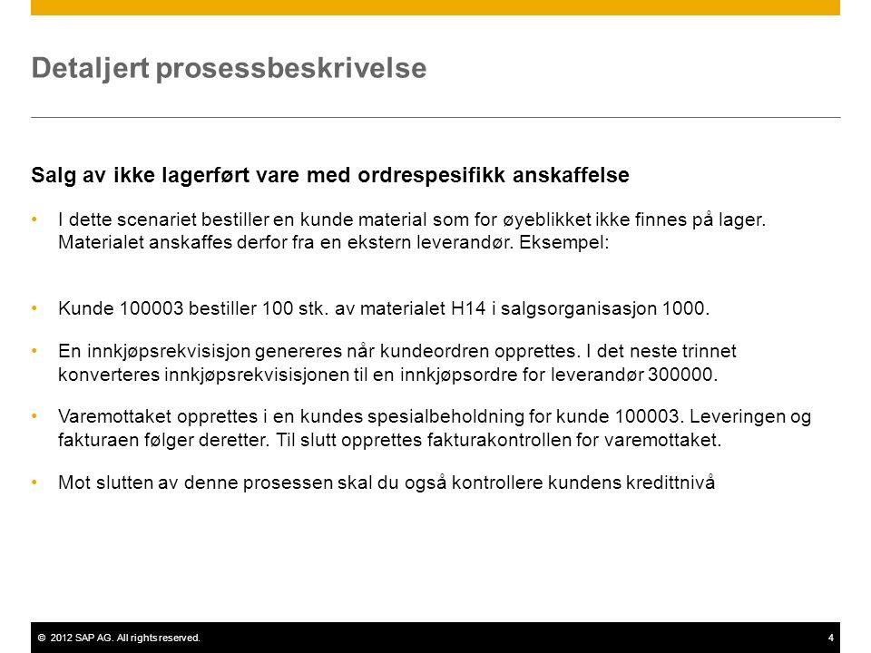 ©2012 SAP AG. All rights reserved.4 Detaljert prosessbeskrivelse Salg av ikke lagerført vare med ordrespesifikk anskaffelse •I dette scenariet bestill