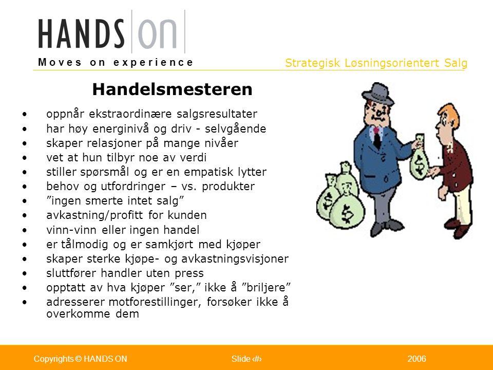 Strategisk Løsningsorientert Salg M o v e s o n e x p e r i e n c e Oslo 25.07.2001Copyrights © HANDS ONPage / Pages 152006Copyrights © HANDS ONSlide