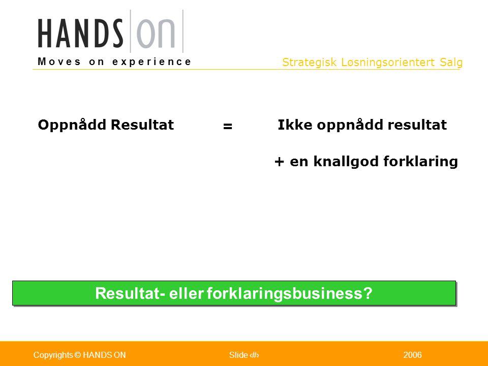 Strategisk Løsningsorientert Salg M o v e s o n e x p e r i e n c e Oslo 25.07.2001Copyrights © HANDS ONPage / Pages 182006Copyrights © HANDS ONSlide