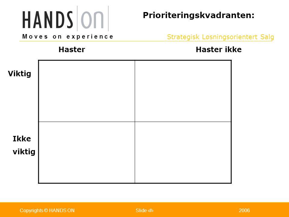 Strategisk Løsningsorientert Salg M o v e s o n e x p e r i e n c e Oslo 25.07.2001Copyrights © HANDS ONPage / Pages 192006Copyrights © HANDS ONSlide