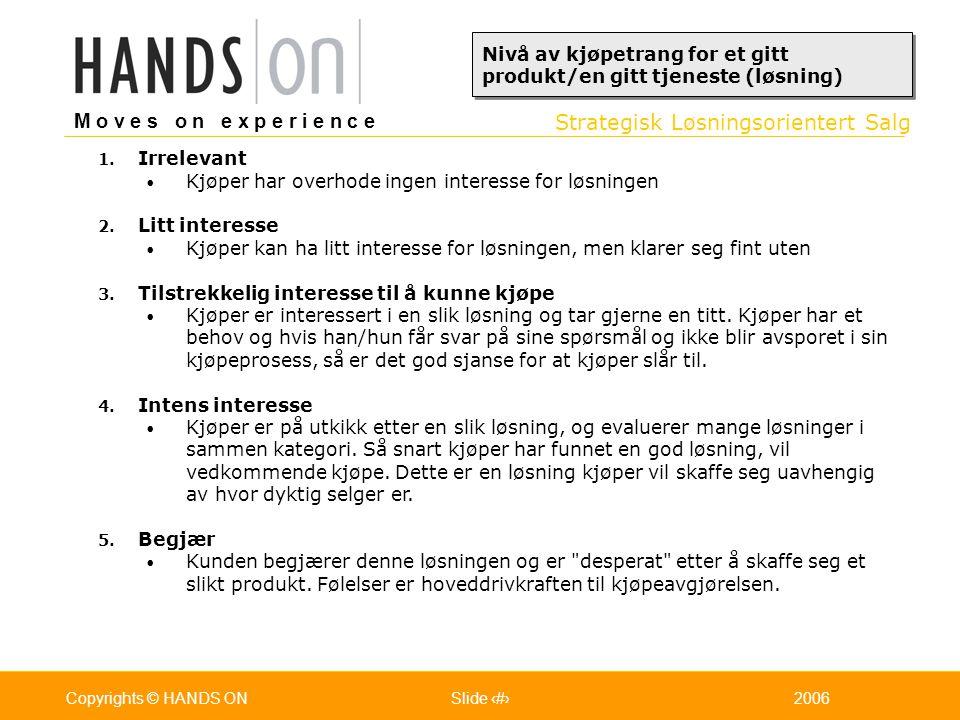 Strategisk Løsningsorientert Salg M o v e s o n e x p e r i e n c e Oslo 25.07.2001Copyrights © HANDS ONPage / Pages 272006Copyrights © HANDS ONSlide