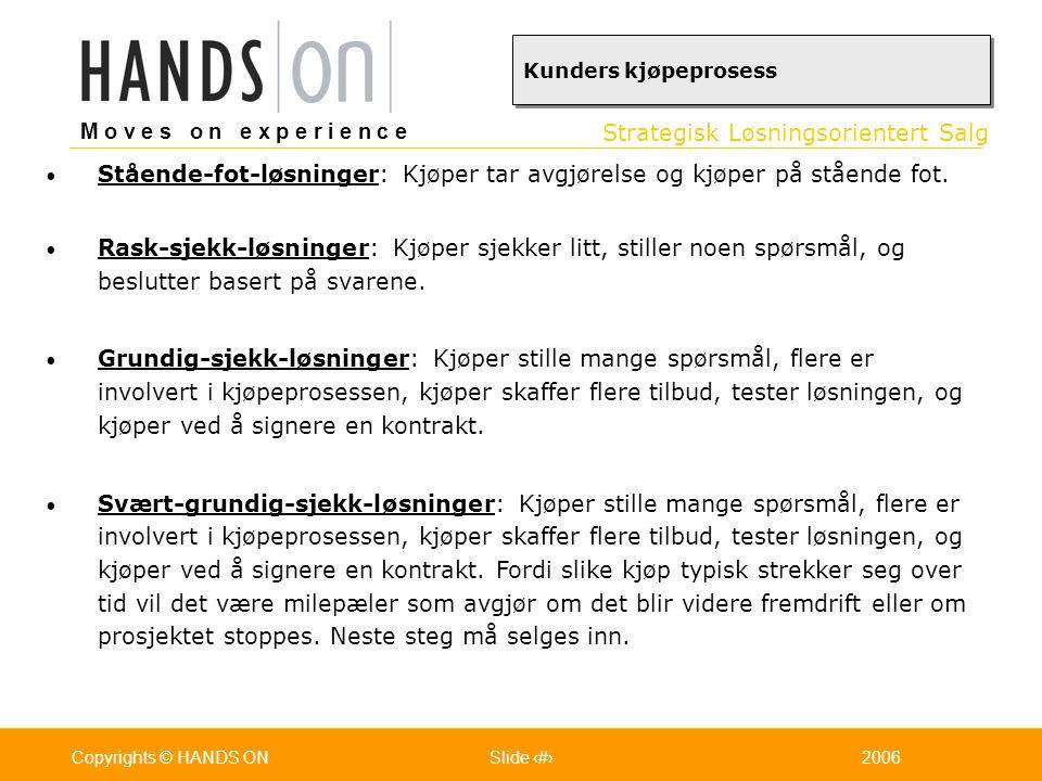 Strategisk Løsningsorientert Salg M o v e s o n e x p e r i e n c e Oslo 25.07.2001Copyrights © HANDS ONPage / Pages 282006Copyrights © HANDS ONSlide