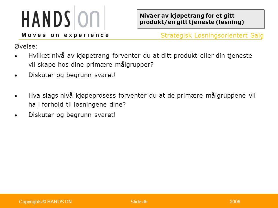 Strategisk Løsningsorientert Salg M o v e s o n e x p e r i e n c e Oslo 25.07.2001Copyrights © HANDS ONPage / Pages 292006Copyrights © HANDS ONSlide