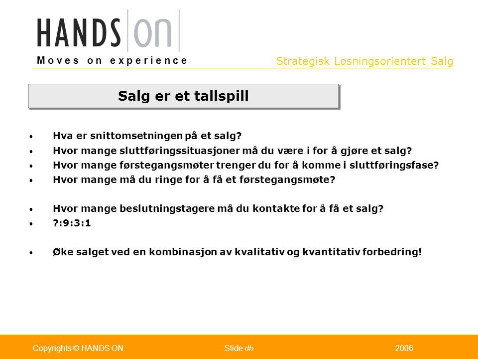 Strategisk Løsningsorientert Salg M o v e s o n e x p e r i e n c e Oslo 25.07.2001Copyrights © HANDS ONPage / Pages 322006Copyrights © HANDS ONSlide