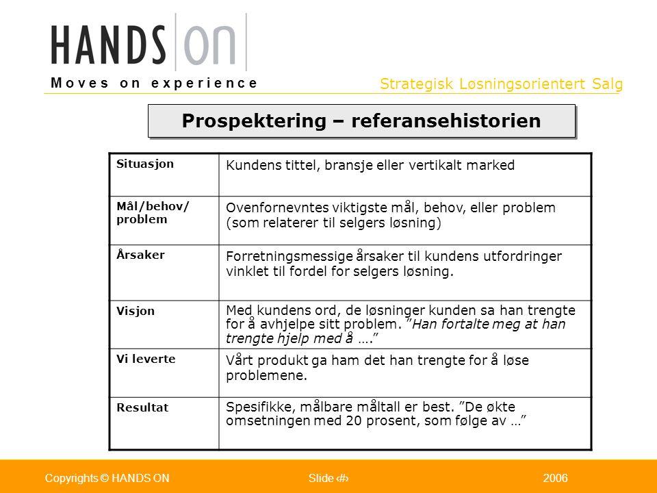 Strategisk Løsningsorientert Salg M o v e s o n e x p e r i e n c e Oslo 25.07.2001Copyrights © HANDS ONPage / Pages 342006Copyrights © HANDS ONSlide
