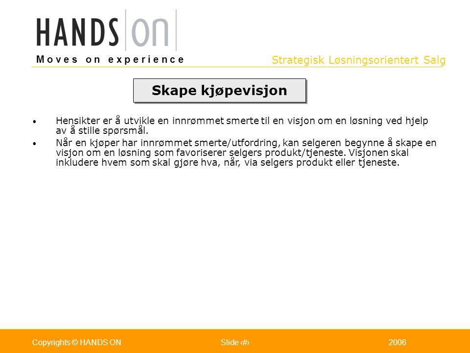 Strategisk Løsningsorientert Salg M o v e s o n e x p e r i e n c e Oslo 25.07.2001Copyrights © HANDS ONPage / Pages 432006Copyrights © HANDS ONSlide